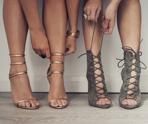 best friends, heels, and shoes image