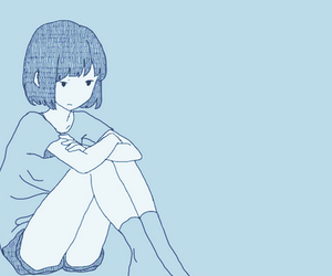 anime, blue, and sad anime girl image