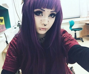 make-up, septum, and purple hair image