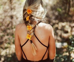 braid, flower, and girl image