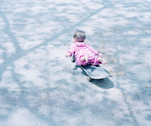 baby, lol, and skateboard image
