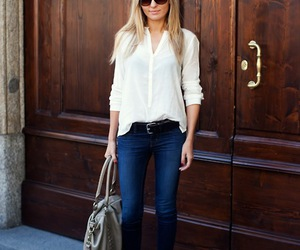 ankle boots, jeans, and white t-shirt image