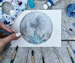 art, crystal, and moon image