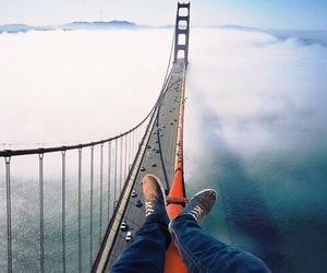 bridge, clouds, and travel image