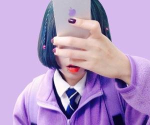 girl, ulzzang, and purple image