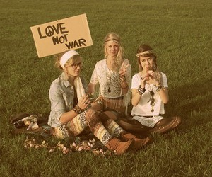 love, girl, and peace image