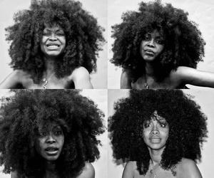 black and white, erykah badu, and hair image