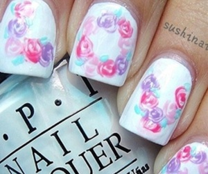 nails, flower, and love image