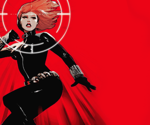 black widow, Marvel, and woman in red image