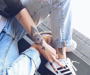tattoo, adidas, and jeans image