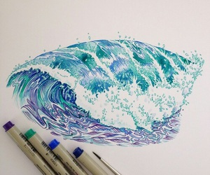 art, waves, and drawing image