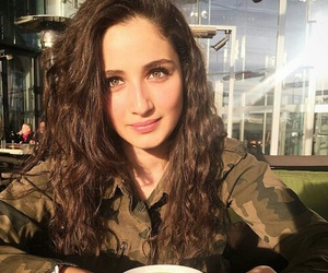 brown hair, camouflage, and coffee image