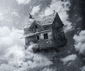 art, black and white, and photomanipulation image