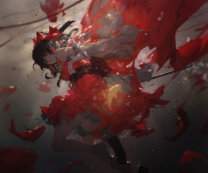anime, red, and anime girl image