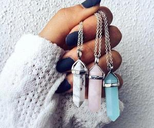 necklace, nails, and crystal image