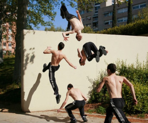 jump, parkour, and wall image