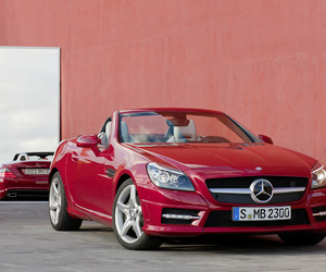 car, mercedes slk, and red car image