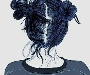 hair, grunge, and drawing image