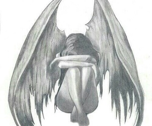 angel, sad, and drawing image