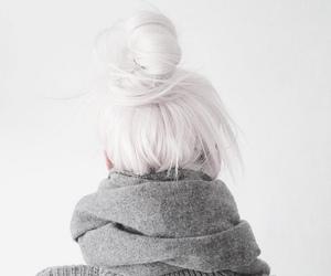 bun, hair, and white image