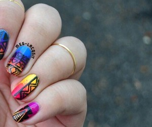 tribal, gradient, and nail art image