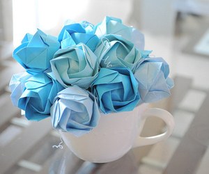 blue, cup, and flowers image