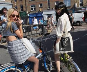 girl, bike, and black and white image