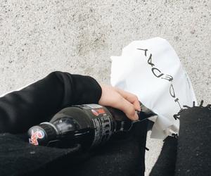 bag, black, and white image