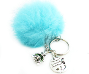 love keychain and fur ball pom pom image