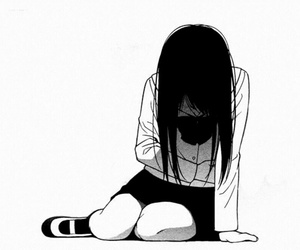 anime, black and white, and sad image