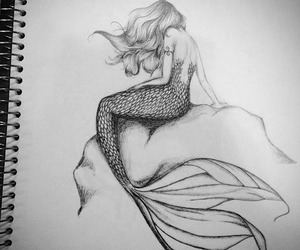 drawing, mermaid, and art image