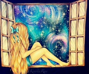 blonde, dreamer, and galaxy image