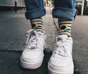 shoes, nike, and sunflower image