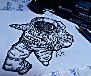 art, astronaut, and black image