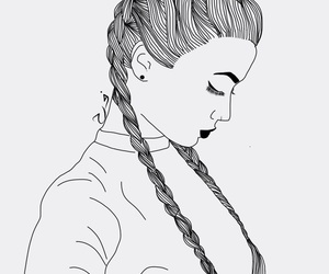 outline, braids, and girl image