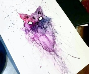 cat, paint, and purple image