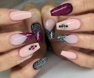 nails, acrylic, and beauty image