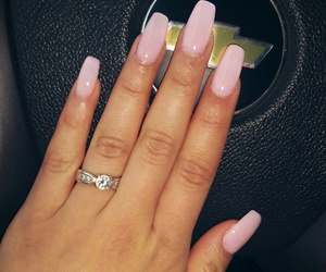 pink nails, nude nails, and coffin nails image