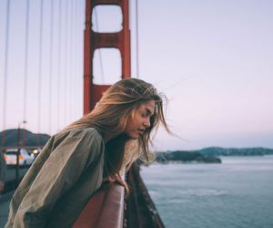 girl, travel, and bridge image