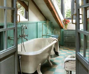 bathroom, interior, and vintage image