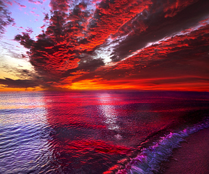 sunset, nature, and ocean image