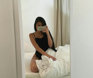 girl, bed, and iphone image