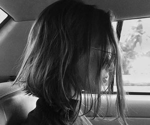 black and white, hair, and tumblr image