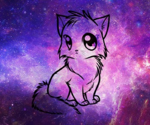 love, cats, and galaxy image
