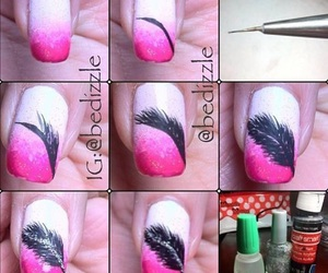 nails, diy, and feather image