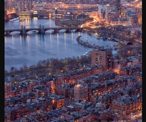 city, boston, and lights image