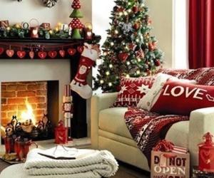 christmas, fire, and christmas tree image