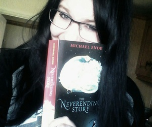 black hair, reading, and book image