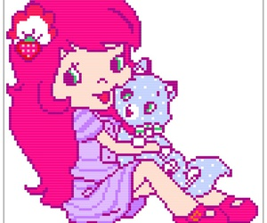 cat, pink, and pixelated image