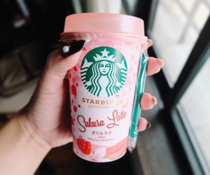 latte, pink, and starbucks image